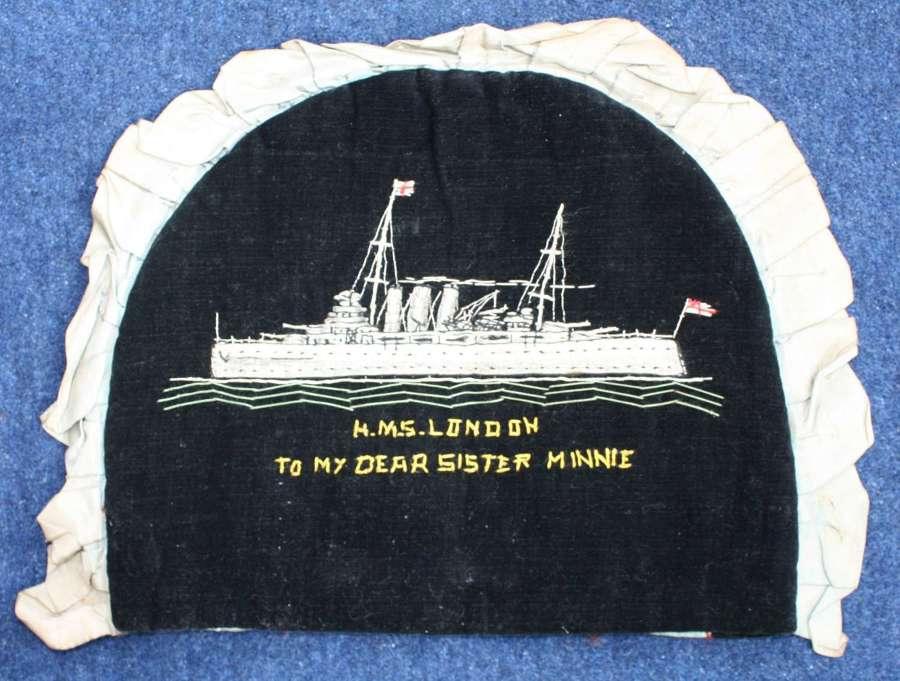 WW1 HMS London Embroidered Tea Pot Cover.
