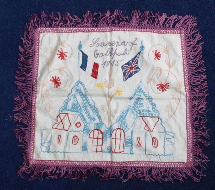 WW1 Embroidered Silk Souvenir of Gallipoli 1915