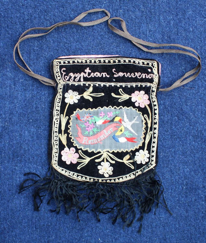 WW1 Embroidered silk souvenir Bag of Egypt 1917