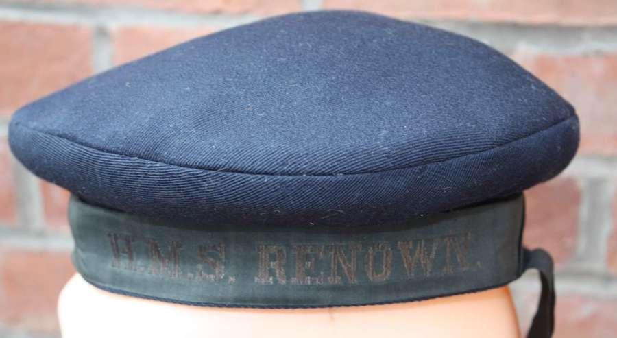 WW2 Royal Navy Seamans Cap: Tally HMS Renown (dot)