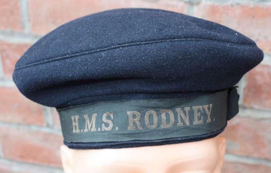 WW2 Royal Navy Seamans Cap: Tally HMS Rodney (dot)