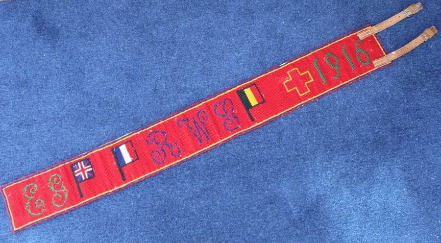 WW1 British Stable belt Souvenir Flanders 1916 Royal Welsh Fusiliers