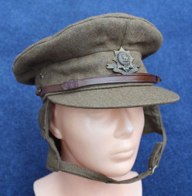 WW1 BRITISH ARMY OFFICER'S GOR BLIMEY CAP WORCESTERSHIRE REGIMENT
