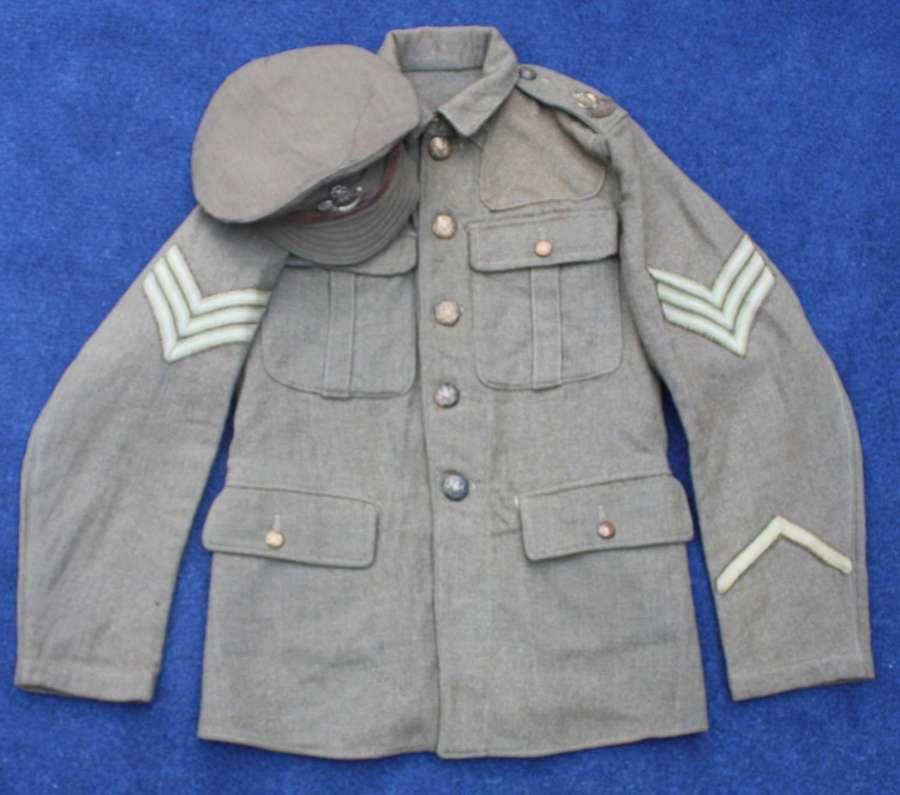 1902 PATTERN BRITISH WW1 SERVICE DRESS TUNIC & CAP SHROPSHIRE LIGHT IN
