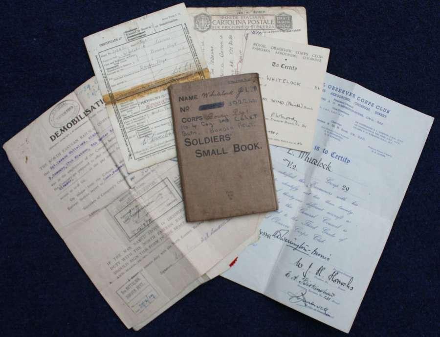 WW1 British Army Service & Pay Book & Documents: Joseph Whitelock MM