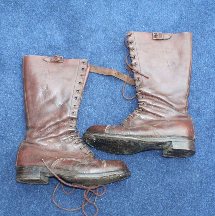WW1 BRITISH ARMY OFFICERS BROWN LEATHER BOOTS