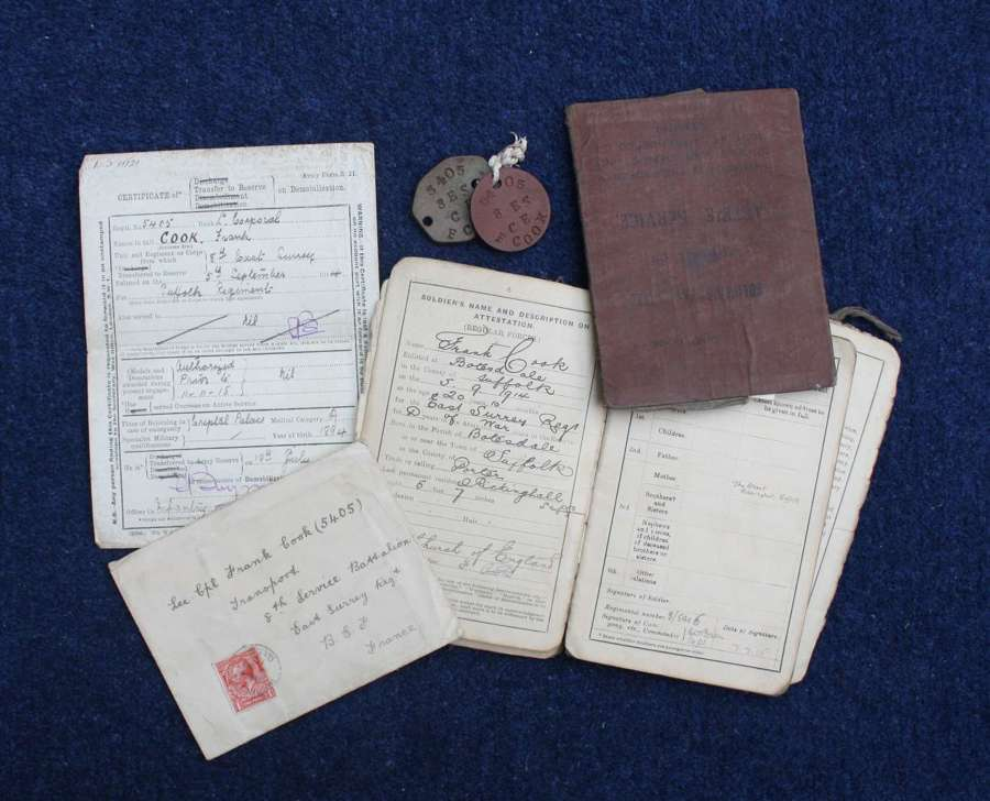 WW1 British Army Pay Books to Frank Cook, ID Tags & Demob Certificate.