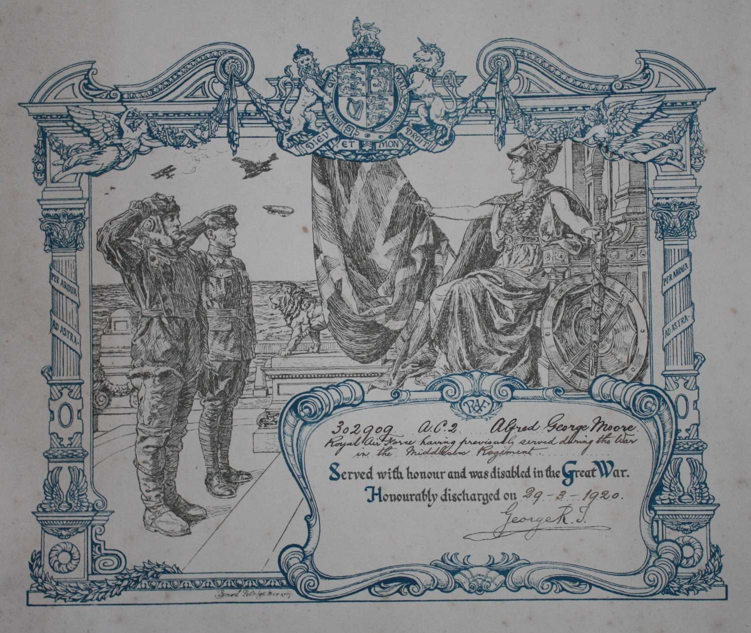 WW1 Royal Air Force Discharge Certificate,